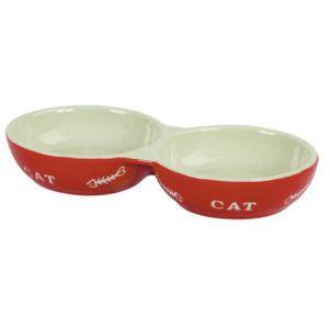Dvojna keramična posoda za mačke
