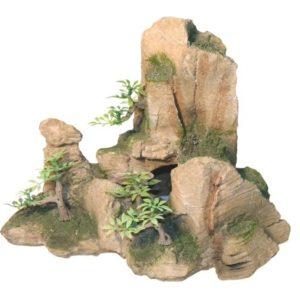 Dekoracija kamen z rastlinami 24 x 15 x 20 cm