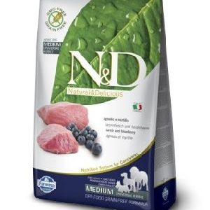 Natural & Delicious Dog Grain-free Adult Medium jagnjetina in borovnica 2,5kg