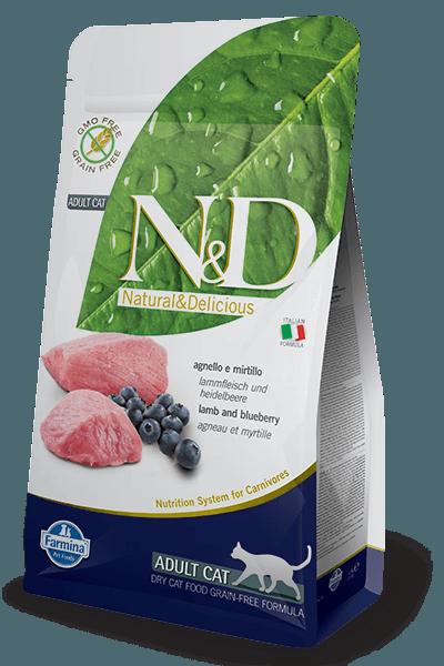 Natural & Delicious Cat Grain-free Adult jagnjetina in borovnica 1,5kg