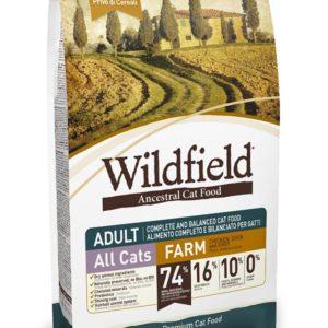 Hrana za mačke Wildfield cat adult (za odrasle mačke), okus farm - briketi s piščancem, raco in jajci, brez žitaric