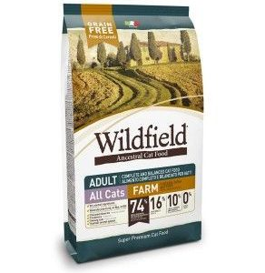Hrana za mačke WILDFIELD cat adult (hrana za odrasle mačke), okus FARM - briketi piščanec, raca in jajca, hrana brez žitaric, 2kg